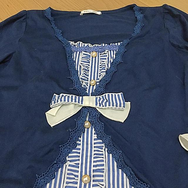 axes femme(アクシーズファム)の美品 カットソー ブルー ストライプ フリル レディースのトップス(カットソー(長袖/七分))の商品写真