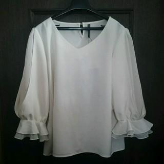 シマムラ(しまむら)のしまむら キャンディ袖 ホワイト 3L  (シャツ/ブラウス(長袖/七分))
