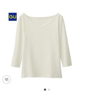 ジーユー(GU)のワイドリブVネックTシャツ カットソー 白 ホワイト(Tシャツ(長袖/七分))