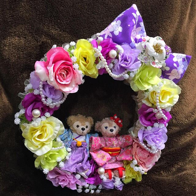 ゆきだるま様専用♡ダッフィーシェリーメィパープル和風リース♡フラワーリース♡ ハンドメイドのフラワー/ガーデン(リース)の商品写真