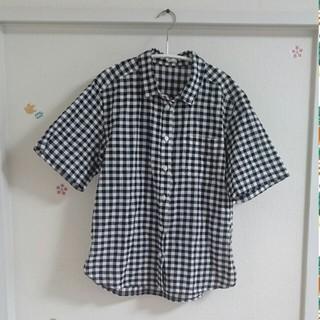 ジーユー(GU)のGU★ギンガムチェックシャツ★半袖★M(シャツ/ブラウス(半袖/袖なし))