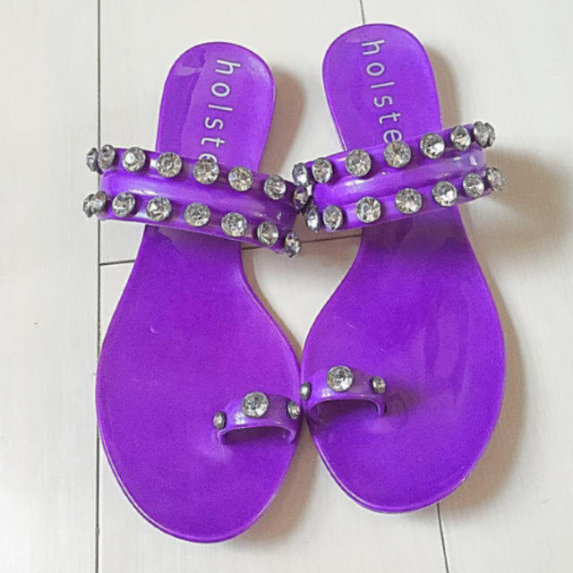 新品未使用 holster ビジューサンダル ❸ パープル レディースの靴/シューズ(サンダル)の商品写真