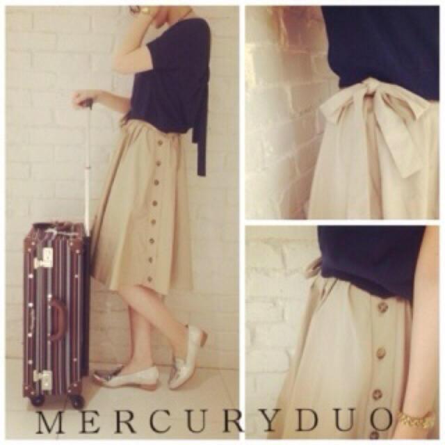 MERCURYDUO(マーキュリーデュオ)のMERCURYDUO BOXタック膝丈スカート  BOXタックスカート ベージュ レディースのスカート(ひざ丈スカート)の商品写真
