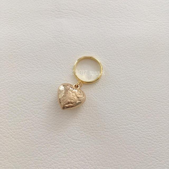 (300)ハートリング、ゴールド ハンドメイドのアクセサリー(リング)の商品写真