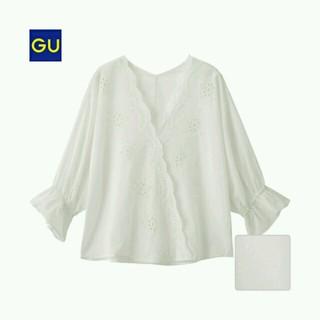 ジーユー(GU)のGU ジーユー スカラップレースVネックブラウス(シャツ/ブラウス(半袖/袖なし))