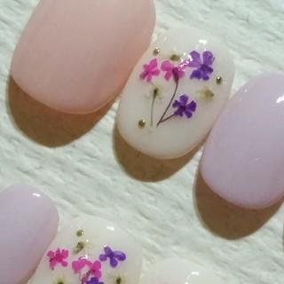 パステルパープル×ピンク×ホワイト&ピンク&パープル押し花ブーケ