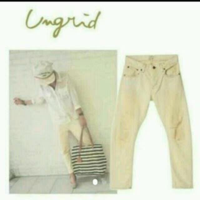 Ungrid(アングリッド)のUngrid ホワイトダメージサルエルデニム TODAYFUL レディースのパンツ(サルエルパンツ)の商品写真