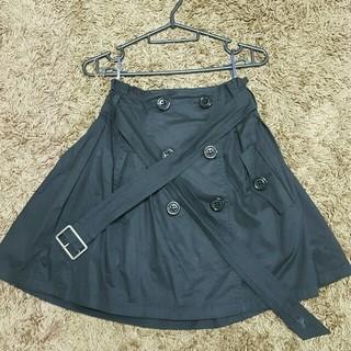 バーバリー(BURBERRY)のバーバリーブルーレーベル トレンチスカート ブラック(ひざ丈スカート)