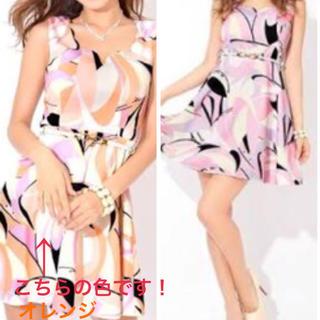 デイジーストア(dazzy store)のキャバドレス ミニドレス ピンク×オレンジ プッチ柄(ミニドレス)