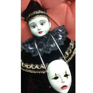 日本製★ビスクドール★ホワイトクラウン ピエロ アンティーク仮面 セラミック人形(彫刻/オブジェ)