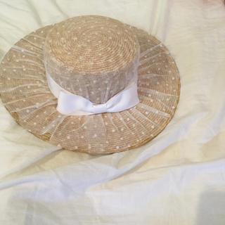 ワンスポ(one spo)のOne spo カンカン帽 チュール(麦わら帽子/ストローハット)