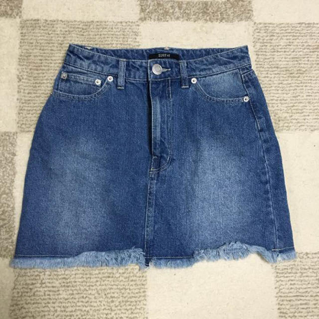 Avail(アベイル)の値下げ フリンジ デニム ミニスカート レディースのスカート(ミニスカート)の商品写真
