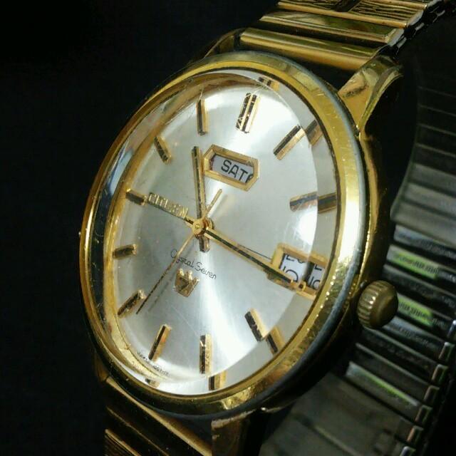 CITIZEN(シチズン)のCITIZEN クリスタルセブン 33石 デイデイト 自動巻 ゴールド メンズの時計(腕時計(アナログ))の商品写真