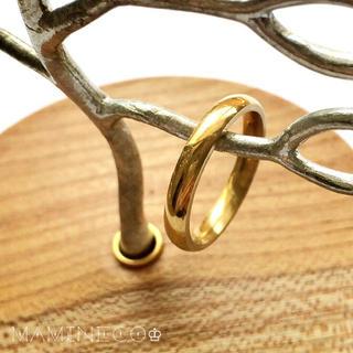 19号サイズ ステンレス製 イエローゴールドつやつやリング幅3mm(リング(指輪))