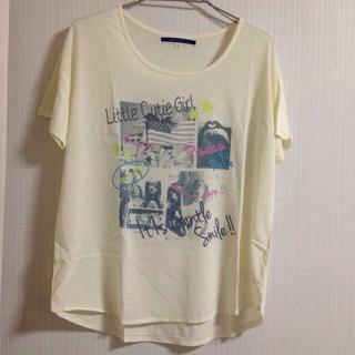 ジエンポリアム(THE EMPORIUM)のシフォン切り替えプリントTシャツ(Tシャツ(半袖/袖なし))