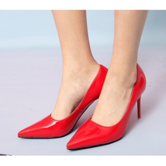 【新作】ハイヒール パンプス レッド レディースの靴/シューズ(ハイヒール/パンプス)の商品写真