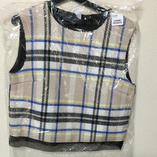 アウラアイラ(AULA AILA)のAULA チェックメッシュ切替トップス(Tシャツ(半袖/袖なし))
