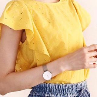 ジーユー(GU)のGU コットンレースフリルスリーブブラウス 新品未使用(シャツ/ブラウス(半袖/袖なし))