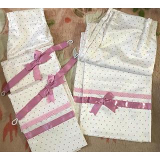 ニッセン(ニッセン)の新品&美品 ドットリボンカーテン ( 100×200 ) 2枚(カーテン)