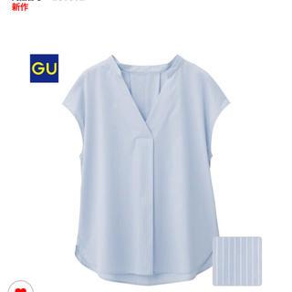 ジーユー(GU)の☆新品タグ付き☆ストライプスキッパーシャツ☆ブルー☆M(シャツ/ブラウス(半袖/袖なし))