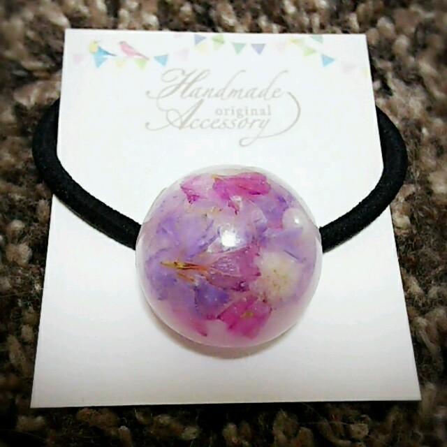 ちゅん様専用 お花ヘアゴム ダイヤモンドカット ピンク ハンドメイドのアクセサリー(ヘアアクセサリー)の商品写真