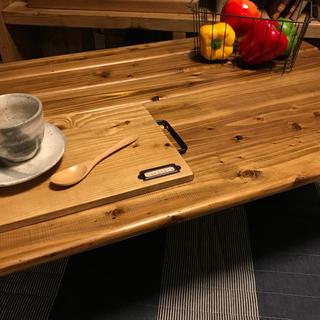 横幅90cm【国産天然杉使用】折りたたみセンターテーブル!(ローテーブル)