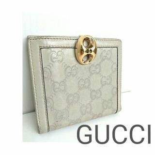 9b839a768900 グッチ(Gucci)の正規 GUCCI シマ GG レザー 折り財布 白 グレー レディース メンズ