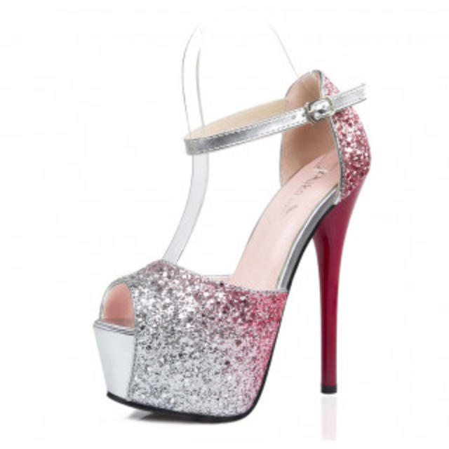 キラキラ ハイヒール パーティー クラブに  レッド 81 レディースの靴/シューズ(ハイヒール/パンプス)の商品写真