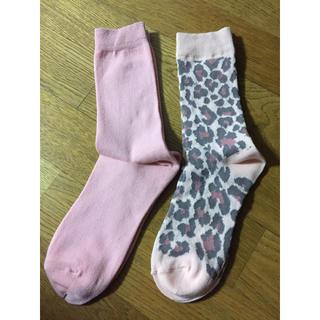 ジーユー(GU)の新品 ピンク&ピンクヒョウ柄 靴下セット(ソックス)