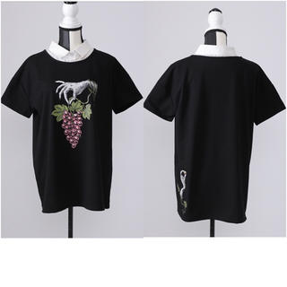 ファンキーフルーツ(FUNKY FRUIT)の【Drug Honey】誘いの魔女と葡萄狩り柄レイヤード風Tシャツ(Tシャツ(半袖/袖なし))