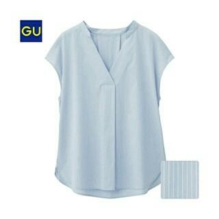 ジーユー(GU)の●はらぺこ様専用ですので他の方は購入されないで下さい●GU ストライプシャツ(シャツ/ブラウス(半袖/袖なし))