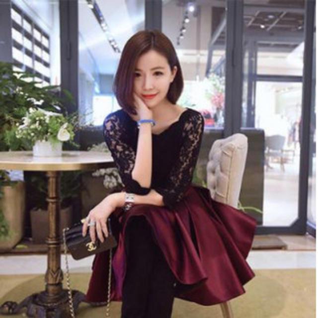 【Mサイズ/レッド】リボンが可愛い♪ フェミニン ドレス レディース レディースのフォーマル/ドレス(ミディアムドレス)の商品写真
