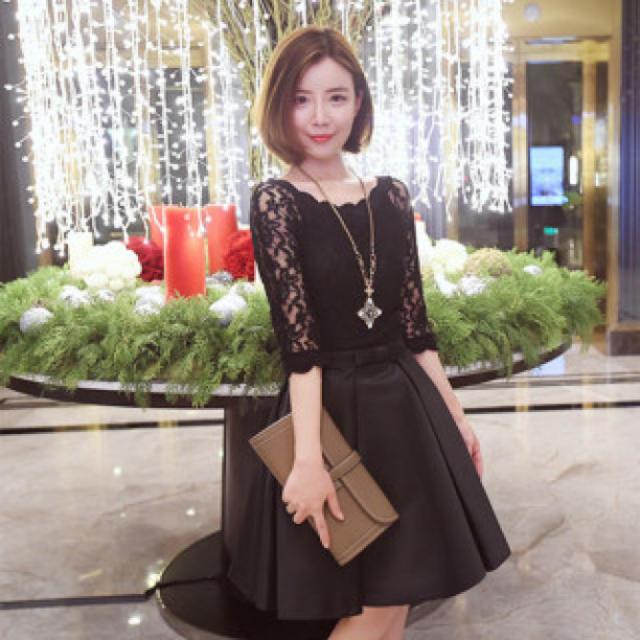 【Lサイズ/ブラック】 リボンが可愛い♪ フェミニン ドレス レディース レディースのフォーマル/ドレス(ミニドレス)の商品写真
