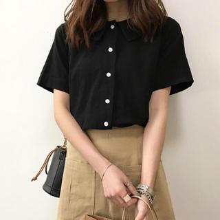 襟付き コットンシャツ 🌿(Tシャツ/カットソー(半袖/袖なし))