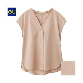 ジーユー(GU)のGU スキッパーシャツ ピンク Sサイズ 一度着(シャツ/ブラウス(半袖/袖なし))