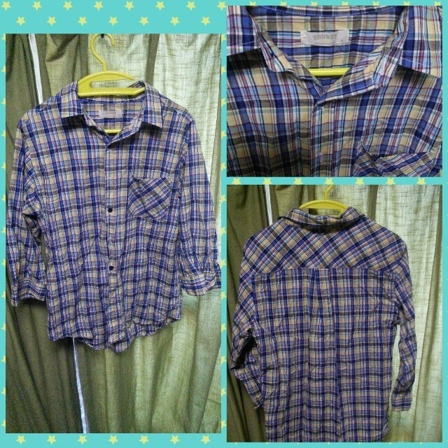 WEGO(ウィゴー)のウィゴー 七分袖 チェックシャツ BROWNY 古着 ミックス ブルー系 メンズのトップス(シャツ)の商品写真