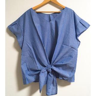 ジーユー(GU)の新品GUフロントリボンブラウス(シャツ/ブラウス(半袖/袖なし))