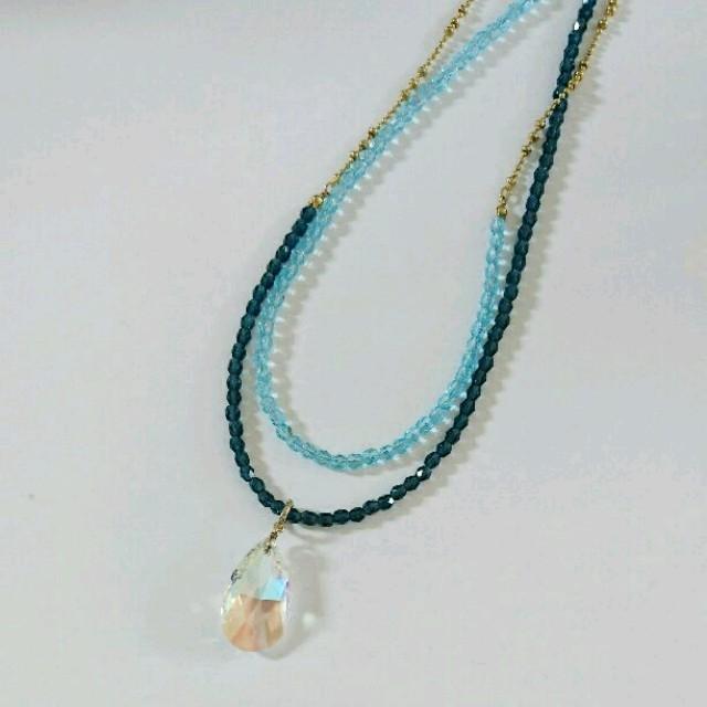 ブルークリスタルロングネックレス レディースのアクセサリー(ネックレス)の商品写真