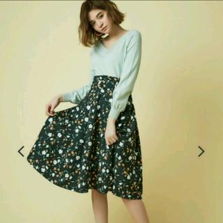 ダズリン(dazzlin)の美品❗️ダズリン ベルト付 フラワーミディ丈スカート ¥8532(ひざ丈スカート)
