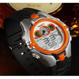 輸入時計★差し色のオレンジがお洒落♪多機能デジタル腕時計OHSEN(腕時計(デジタル))