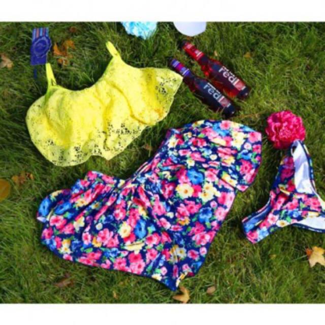 ショーパン水着3点セット☆イエロー×花柄 Lサイズ☆ レディースの水着/浴衣(水着)の商品写真