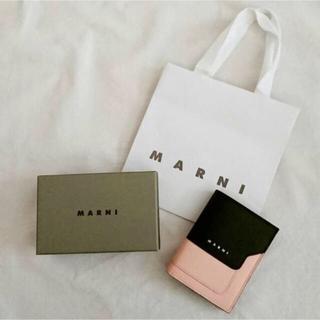 マルニ(Marni)の完売 マルニ MARNI 二つ折りミニ財布 ブラック ピンク(財布)