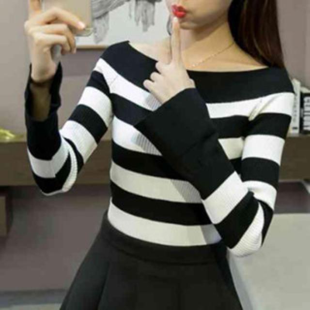 長袖 L 黒×白 ボーダーカットソー トレンド フレア袖 レディースのトップス(カットソー(長袖/七分))の商品写真