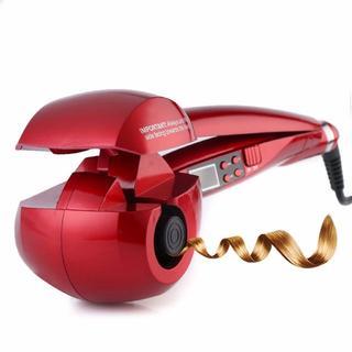 【送料無料:新品】4色:はさむだけの自動巻きヘアアイロン MAX230℃ レッド(ヘアアイロン)