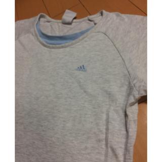 アディダス(adidas)のadidasグレー✖︎ブルーコットン ラグランT(Tシャツ(長袖/七分))