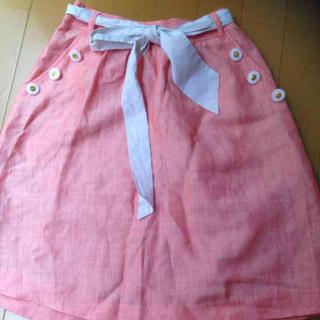 ビバユー(VIVAYOU)のビバユー    リネン混スカート(ひざ丈スカート)