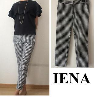 イエナスローブ(IENA SLOBE)のIENA SLOBE ギンガムチェック 黒×白 夏パンツ(クロップドパンツ)