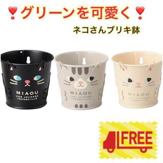 お得な3個セット☆キャットブリキ S 鉢《アメショ 白猫 黒猫》多肉植物に(プランター)