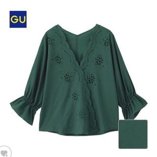 ジーユー(GU)のGU スカラップブラウス グリーン(シャツ/ブラウス(半袖/袖なし))