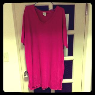 ピンクBIG Tシャツ(ひざ丈ワンピース)